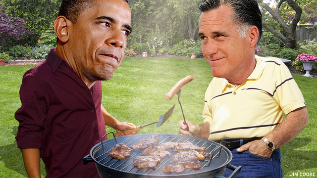Obama Uncoils the World's Longest Hot Dog, Romney Eats an Entire Flag: Goofus and Gallant Do 'America'