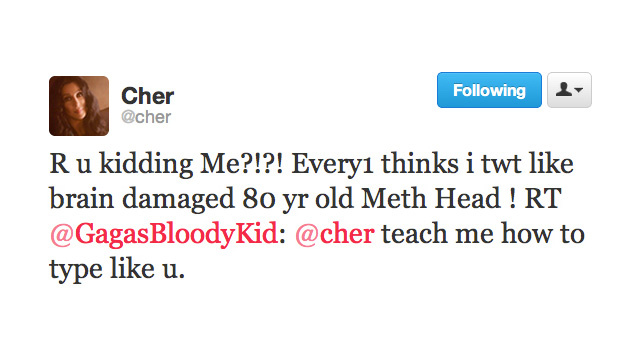 Cher Tweets Like an 80-Year-Old Meth Head