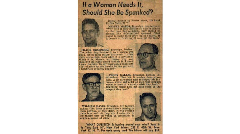And Now, an Unsettling Blast From The Past: Some Jerks Who Believe Women Should Be Spanked