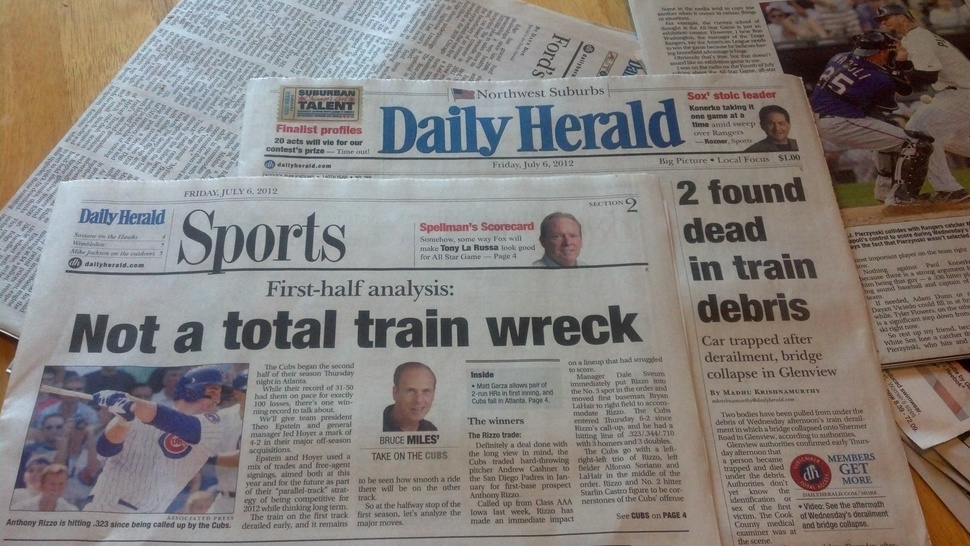 Chicago Paper: Cubs Not A Total Train Wreck, Like That Actual Train Wreck On The Front Page