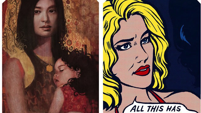 The ladies of Battlestar Galactica, painted in the styles of Klimt, Lichtenstein, and more
