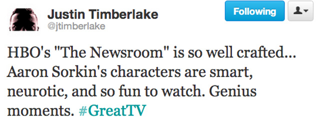 This Week on The Newsroom: Justin Timberlake Is a Fan!