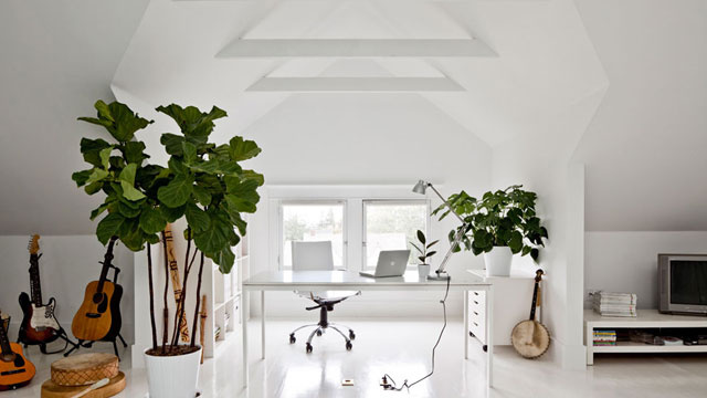 The Serene White Attic Workspace