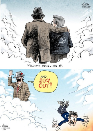 Cartoon Bear Bryant Kicked Cartoon Joe Paterno Out Of Cartoon Heaven