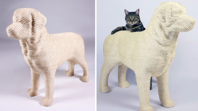 This Dog-Shaped Scratching Post Is Sure To Fuel the Dogs vs. Cats Debate