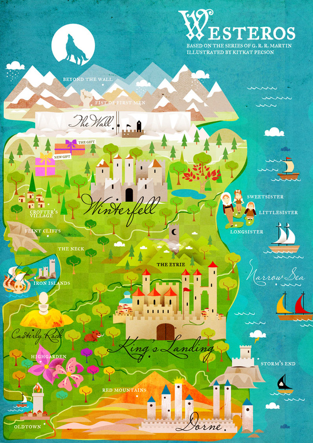 Stylized Game of Thrones maps make Westeros and Essos look like pleasant places to vacation