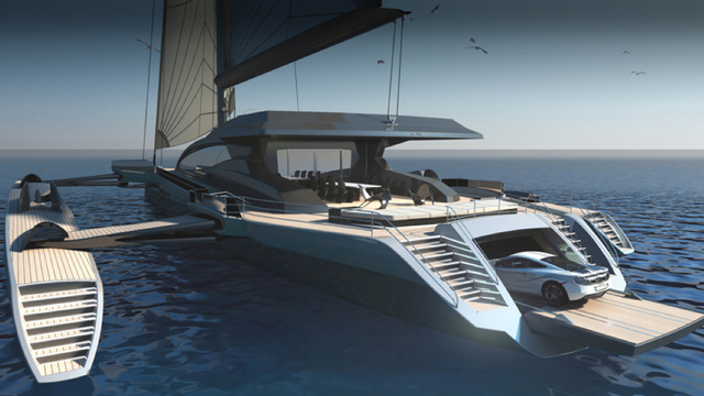 The World's Largest Sailing Trimaran Has A Garage For Your McLaren