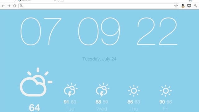 Click here to read Currently Replaces Chrome's New Tab Page with a Minimalist Weather and Time Display