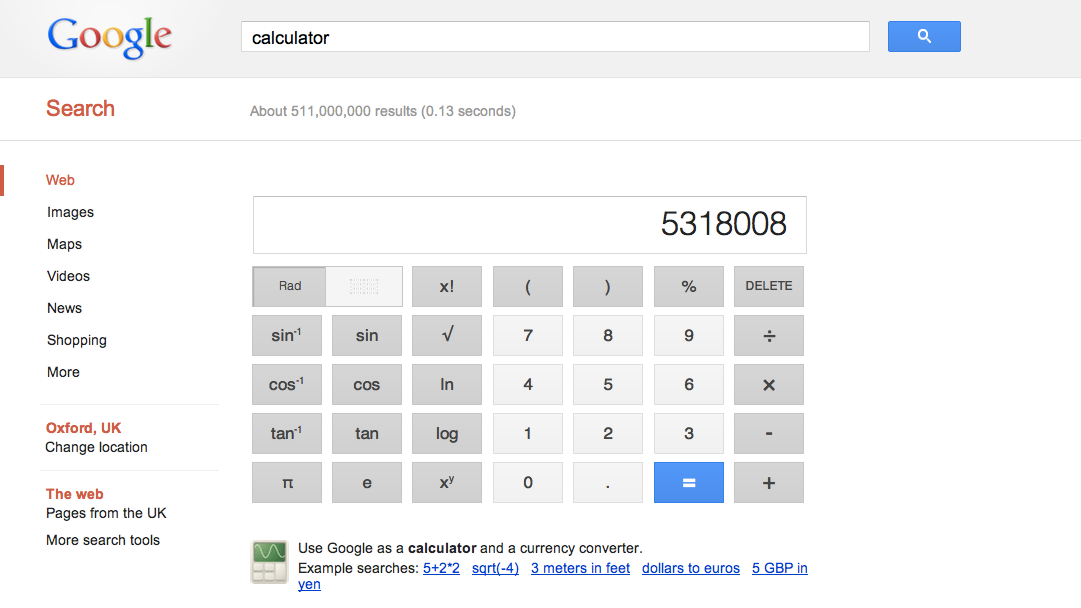 Google adds 34-button calculator to search results