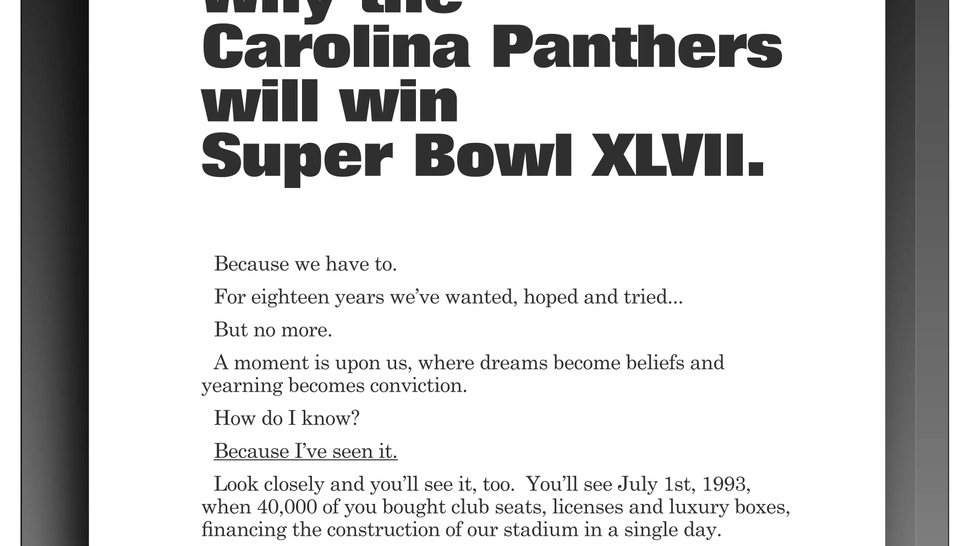 Ryan Kalil Takes Out Full-Page Newspaper Ad Guaranteeing A Panthers Super Bowl Victory