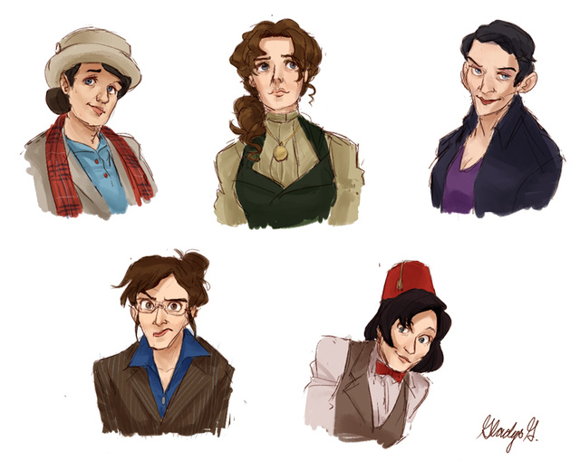 Completely Adorable Art that Depicts the Eleven Doctors as Time Ladies