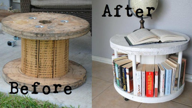 Click here to read Repurpose a Cable Spool Into a Bookcase