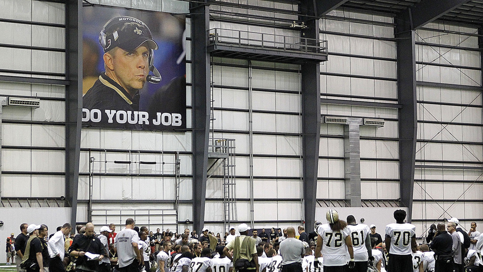 There Is A Giant Photo Of Sean Payton Watching Over Saints Training Camp