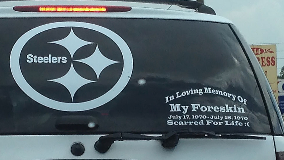 This Steelers Fan Has A Memorial Sticker On His Car's Rear Window Dedicated To His Foreskin