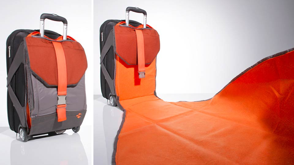 Built-In Suitcase Blanket Gives You Somewhere Clean To Sit In Airports
