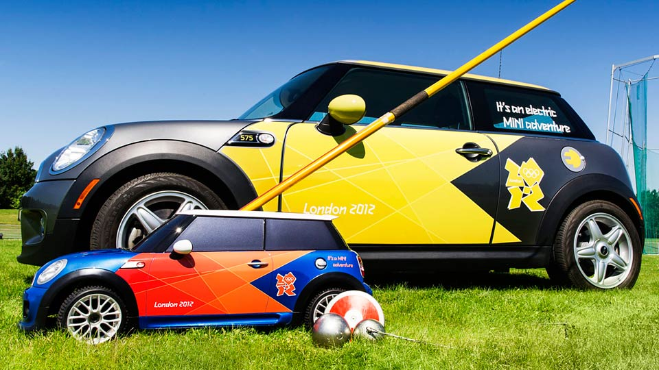 Miniature RC Mini Coopers Will Retrieve Javelins At The Olympics