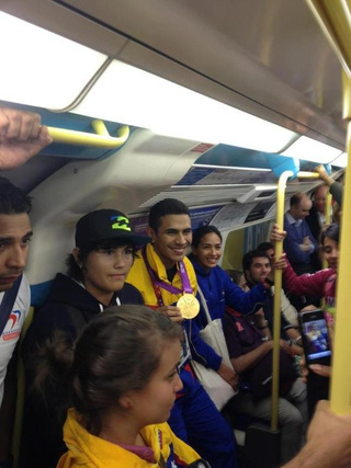 This Venezuelan Gold Medalist Taking the Subway Is the Best Olympics Photo Yet