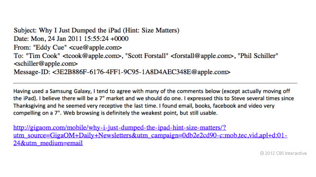 Here's an Internal Email Thread from Apple About a 7-inch iPad