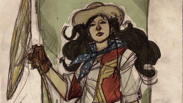 Wonder Woman's lasso is perfect for these Wild West Justice League illustrations
