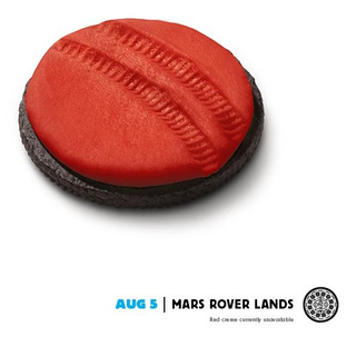 Oreo Commemorates Curiosity's Historic Mars Landing with Red-Planet-Themed Cookie