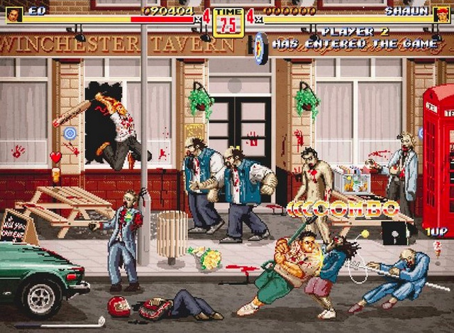 Behold a scene from the nonexistent Shaun of the Dead 1990s arcade game