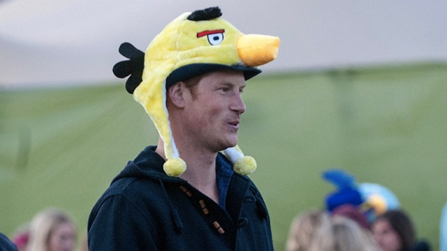 Click here to read Oh Hey Look It's Prince Harry In An <em>Angry Birds</em> Hat