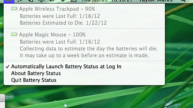 Battery Status Puts Apple Wireless Keyboard, Trackpad, and Magic Mouse Battery Life in Your Menu Bar