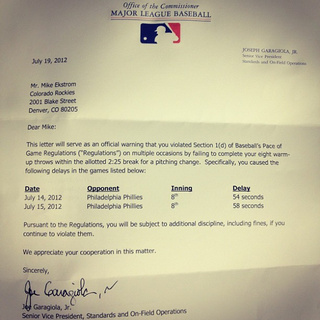MLB Speeds Up Games By Sending Strongly Worded Letters To Slow Pitchers