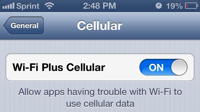 Click here to read iOS 6's New Wi-Fi Plus Cellular Will Keep You Connected
