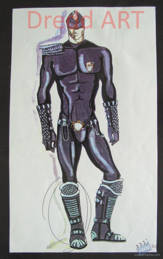 "Unused Judge Dredd concept art says: ""My codpiece is the law"""