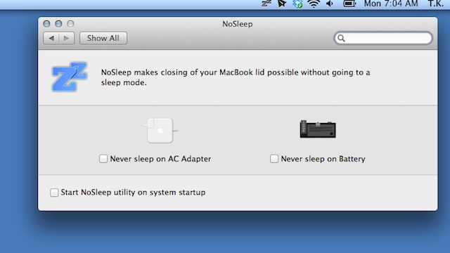 Click here to read NoSleep Prevents Your MacBook from Sleeping When You Close the Lid