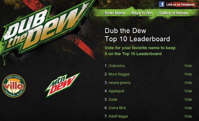 Mountain Dew Pizza Restaurant Asks Internet to Name Its New Drink, 4chan Happily Obliges [UPDATE]
