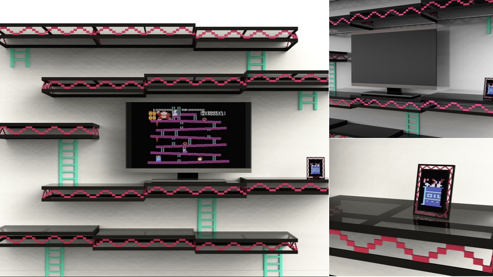 Always Be Gaming A Stylish Donkey Kong Inspired Shelving