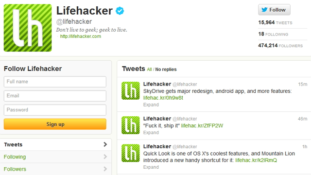 Click here to read Follow Lifehacker on Twitter for All Our Stories Right in Your Feed