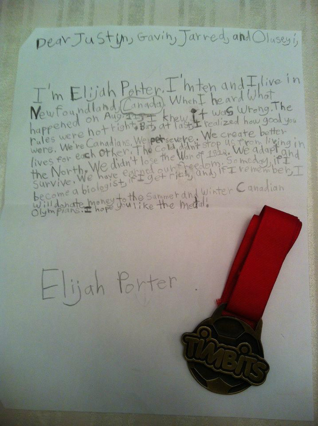 "Adorable Canadian Child Sends Medal To DQ'd Relay Team, Accurately Describes Canada As ""Cold"""