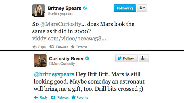Did the Mars Curiosity Rover Delete Its Twitter Exchange with Britney Spears? [UPDATED]