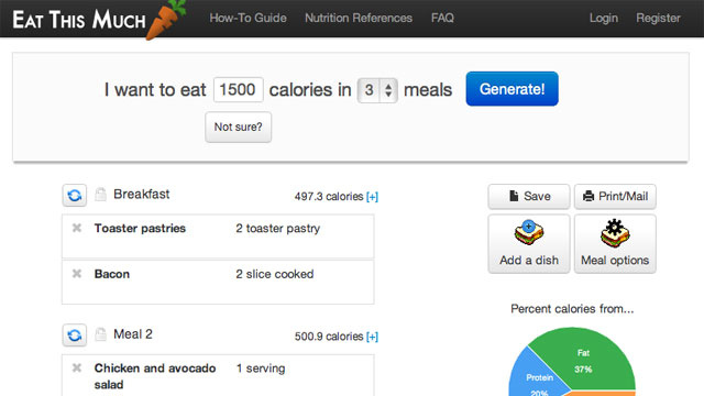 Eat This Much Automatically Plans Your Diet in Two Clicks
