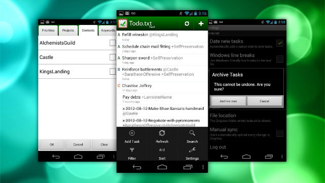 Todo.txt for Android Get Swipe to Complete, Simpler Settings