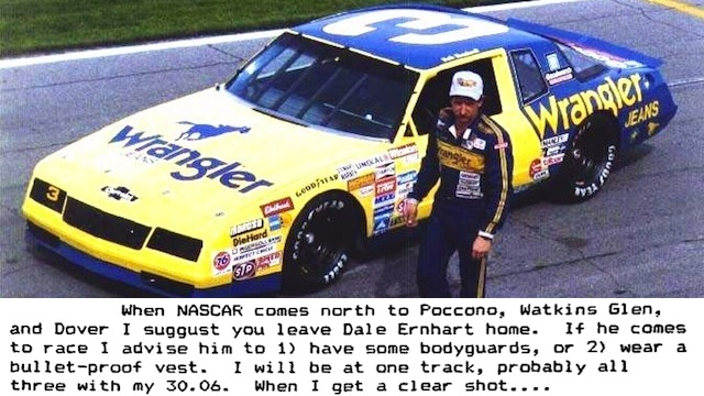 "Click here to read ""When I Get A Clear Shot..."": 25 Years Ago, Dale Earnhardt Received This Death Threat For His Ornery Driving"