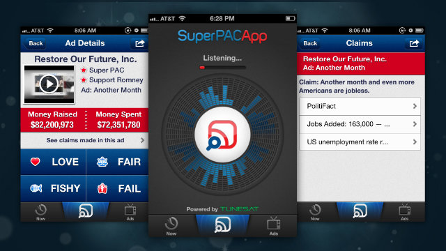 Click here to read Super PAC App for iPhone Listens to Political Ads to Verify Claims