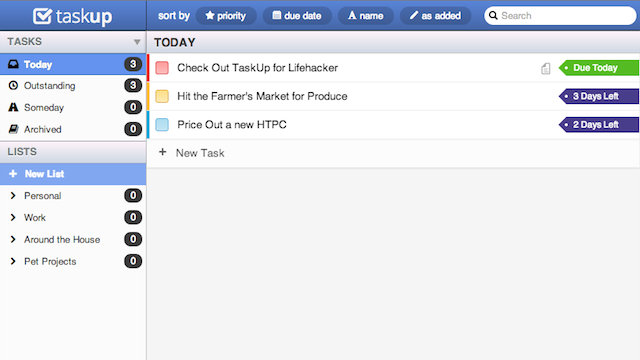 Taskup Offers Simple, Fast, and Flexible To-Do Tracking