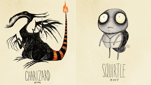 Pokémon, in the style of Tim Burton