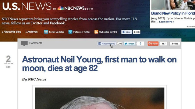 NBC News Reports on Death of Astronaut Neil Young