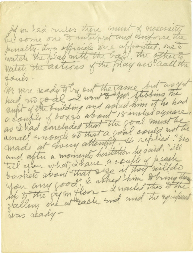 James Naismith's Handwritten Notes On The First Basketball Game