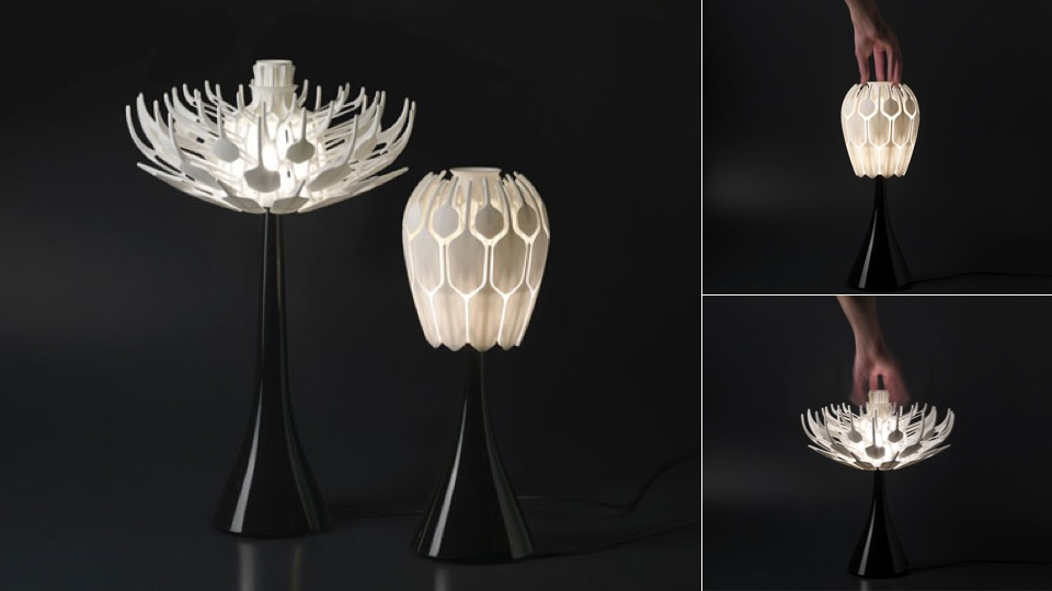 3d Printed Table Lamps Bloom Like Flowers Filled With