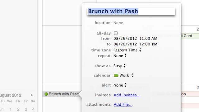 "Click here to read Use Phrases Like ""Lunch,"" ""Brunch,"" and ""Breakfast"" to Auto-Schedule Appointments in iCal"