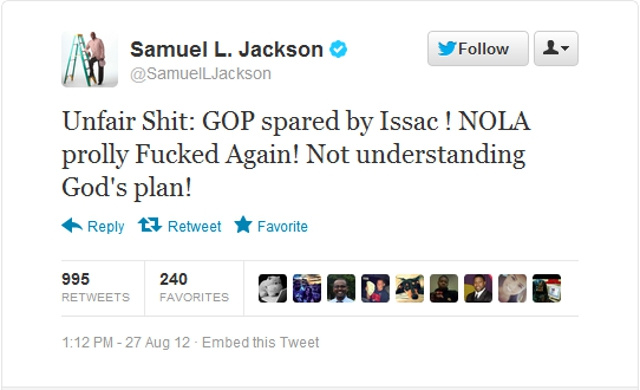Samuel L. Jackson: 'God's Plan' to Steer Isaac from RNC to NOLA Is 'Unfair Shit'