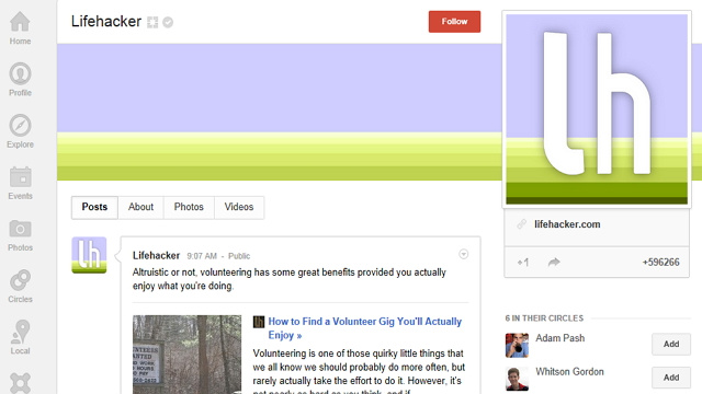 Circle Lifehacker at Google+ For Our Top Stories in Your Stream