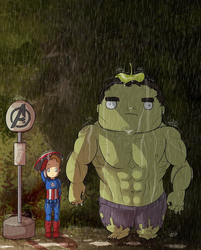 Avengers/Totoro mashup soaks an adorable Hulk in the rain