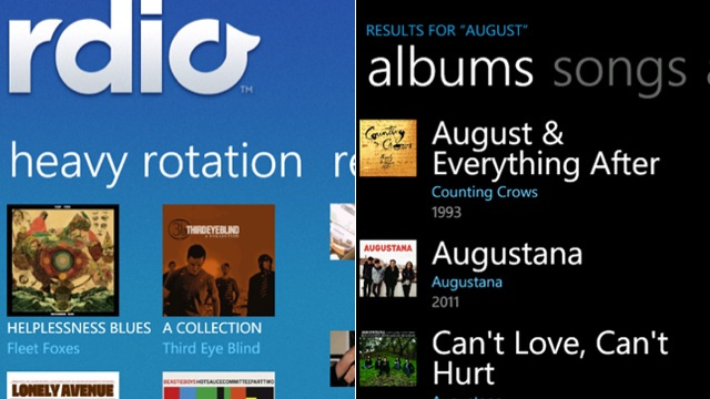 Rdio Streams in the Background on Windows Phone Now